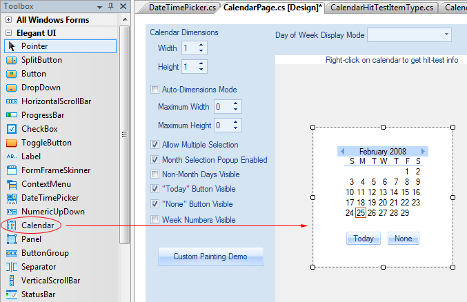 Calendar control placed on a form in the the Windows Forms Designer