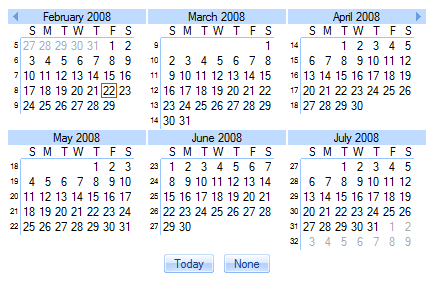 Calendar with two rows and three columns