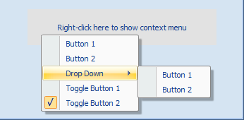 Context menu over a panel control on the form