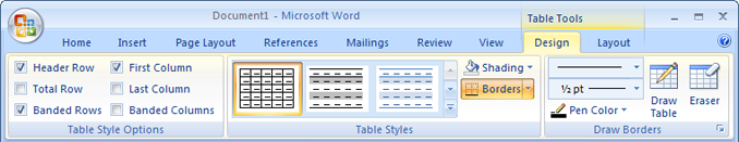 Two contextual tabs in the Table Tools tab group
