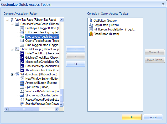 Customize Quick Access Toolbar dialog