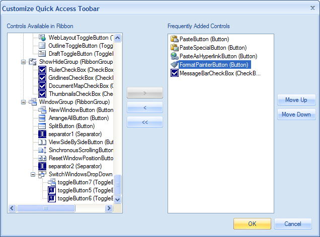 Customize Quick Access Toolbar dialog for frequently  added controls