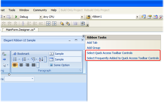 QAT-related items in the smart tags panel for the Ribbon Bar