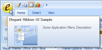 Ribbon Application Button with Open Application Menu