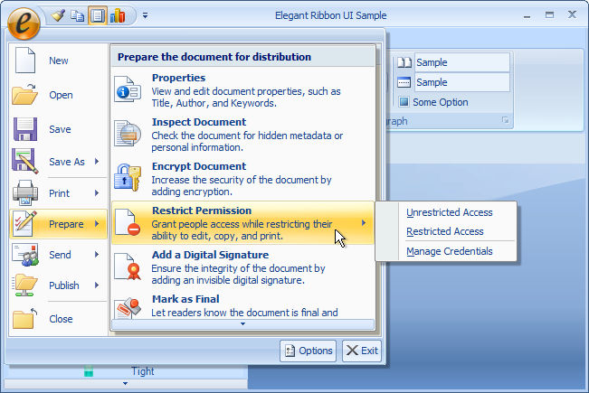 Prepare submenu displayed over the right pane of the application menu