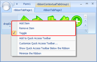 Merged context menu over a dropDown button in the ribbon