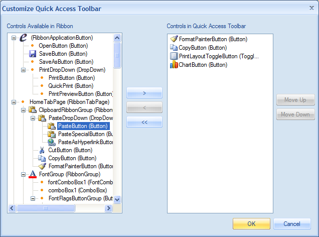 Customize Quick Access Toolbar menu