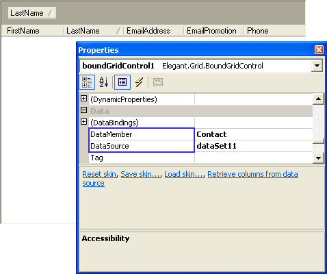 .NET Elegant Grid: Setting the DataMember and DataSource properties with the Windows Forms Designer