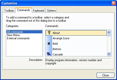 Prof-UIS Frame Features ActiveX control: Customizable commands
