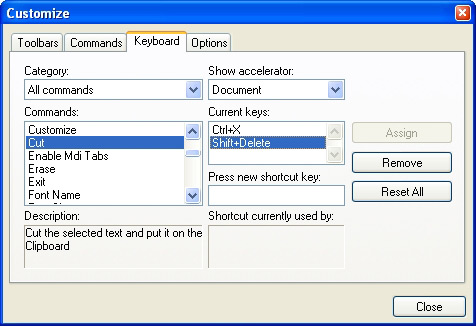 Prof-UIS Frame Features ActiveX control: Customizable keyboard accelerators