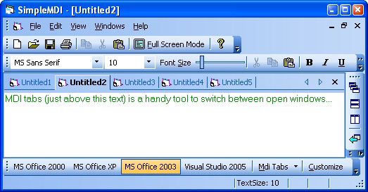 Prof-UIS Frame Features ActiveX control: MDI tabs are on