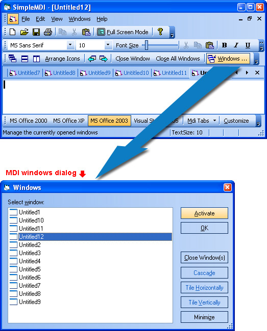 Prof-UIS Frame Features ActiveX control: MDI windows dialog