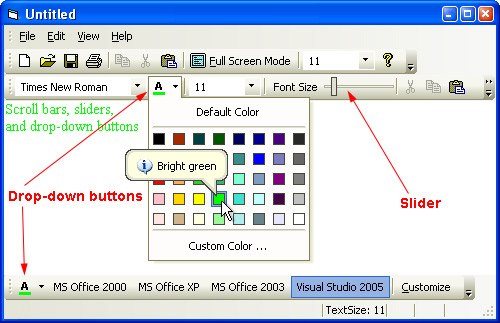 Prof-UIS Frame Features ActiveX control: Scroll bar/slider and drop-down button