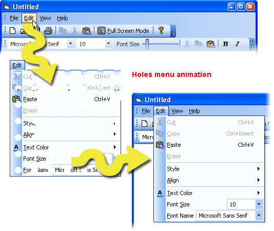 Prof-UIS Frame Features ActiveX control: Menu animations
