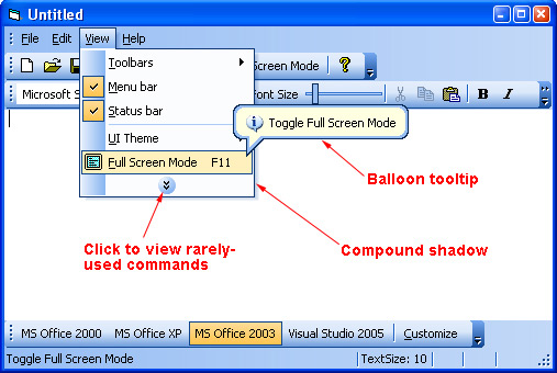 Prof-UIS Frame Features ActiveX control: Menu features