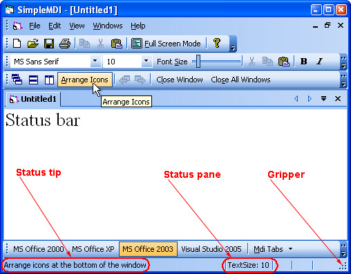 Prof-UIS Frame Features ActiveX control: Status bar