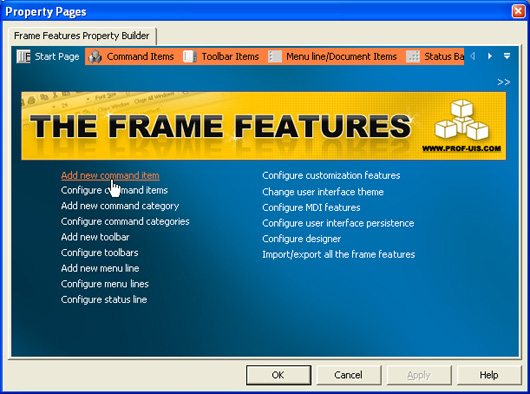 Prof-UIS Frame Features ActiveX control: Property builder XP