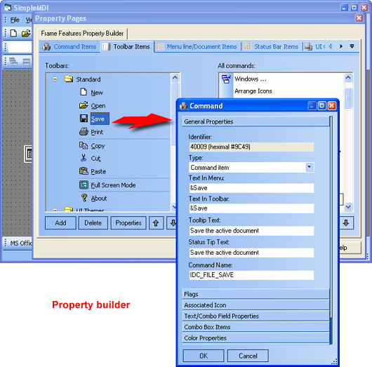 Prof-UIS Frame Features ActiveX control: Property builder