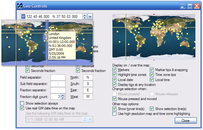 Geographic longitude/latitude input control with an expanded map control