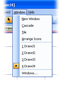 MFC Prof-UIS menu bar: Currently opened windows list