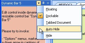 Options menu of the dynamic control bar (the arrow button)