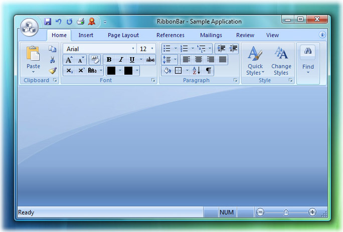 Ribbon Bar: Office 2007 Blue theme on Windows Vista