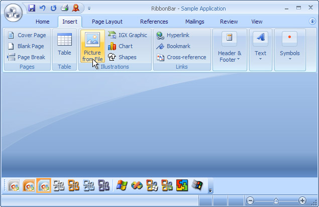 Ribbon Bar: Office 2007 Blue theme on Windows XP