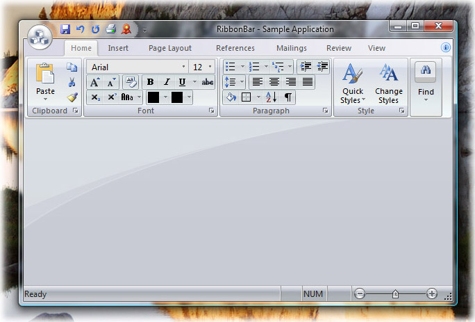 Ribbon Bar: Office 2007 Silver theme on Windows Vista
