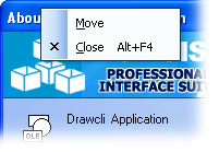 MFC Prof-UIS menu bar: Prof-UIS system menu
