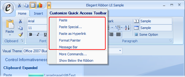 Frequently added controls in the Customize Quick Access Toolbar menu