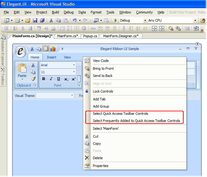 QAT-related items in the context menu for the Ribbon Bar
