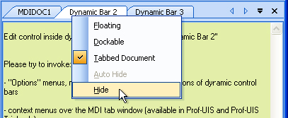 Options menu of the dynamic control bar (in the MDI system menu)
