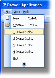 MFC Prof-UIS menu bar: Most recently used files list