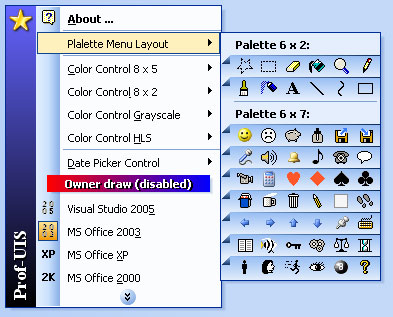 Custom drawn palette menu under the Office 2003 theme