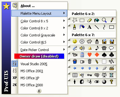 Custom drawn palette menu under the Visual Studio 2005