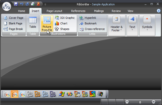 Ribbon Bar: Office 2007 Black theme on Windows XP