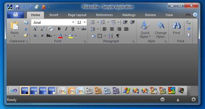 Ribbon Bar: Office 2010 Black theme on Windows 7
